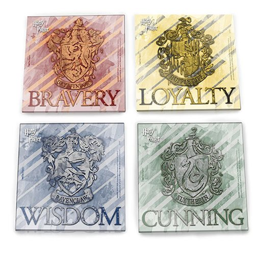 Harry Potter House Crests StarFire Prints Glass Coaster Set