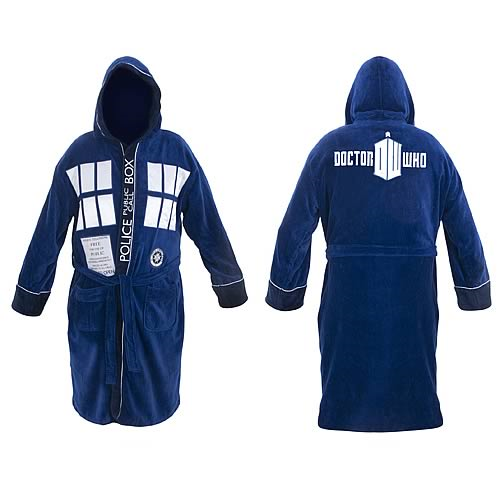 Doctor Who TARDIS Hooded Blue Cotton Medium Bath Robe