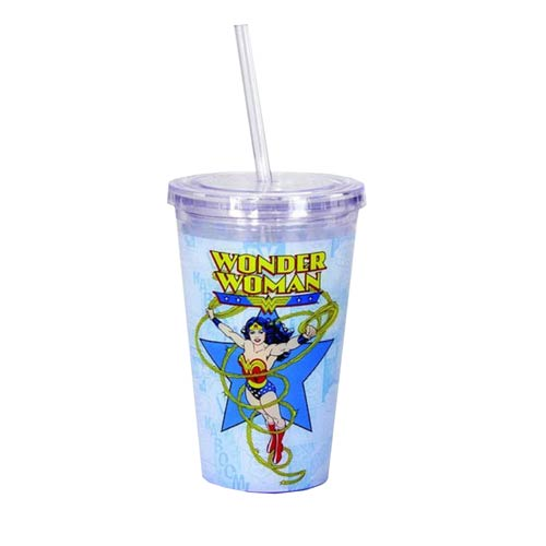 Wonder Woman Comic Book Art 16 oz. Travel Cup with Straw