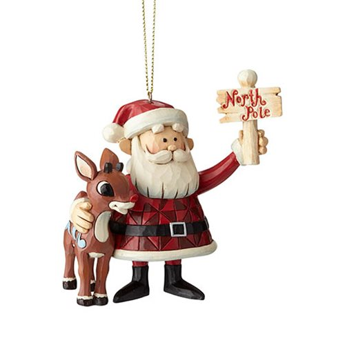 Rudolph the Red-Nosed Reindeer Rudolph and Santa North Pole Ornament by Jim Shore