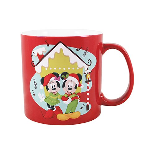 Mickey Mouse & Minnie Mouse Santa Hat 20 oz. Ceramic Mug