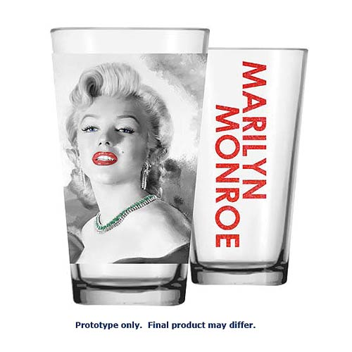 Marilyn Monroe Pink Lips and Green Necklace Pint Glass