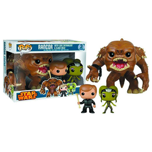 Star Wars Rancor, Luke, and Oola Pop! Vinyl Figure Bobble Head 3-Pack - Previews Exclusive, Not Mint