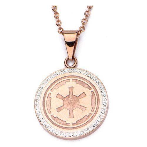 Star Wars Galactic Empire Symbol Stainless Steel Rose Gold Plated Pendant Necklace