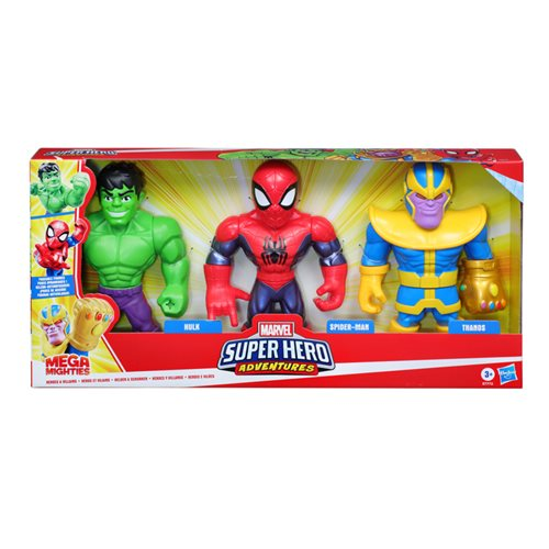 Marvel Super Hero Adventures Mega Mighties Spider-Man, Thanos, and Hulk 10-Inch Action Figures