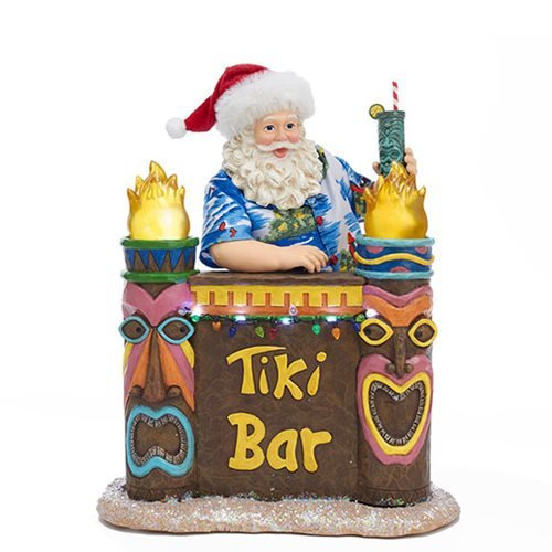 Tiki Bar Beach Santa 11 1/2-Inch Light-Up Statue
