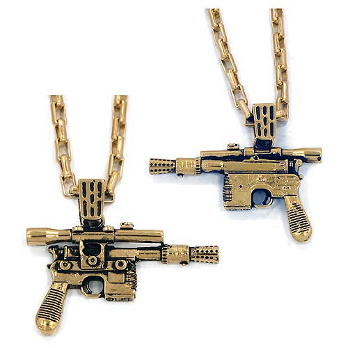 Star Wars Han Solo's Blaster Golden Pendant Necklace, Not Mint