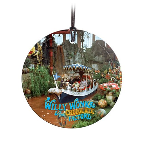 Willy Wonka and the Chocolate Factory Boat Ride StarFire Prints Hanging Glass Ornament