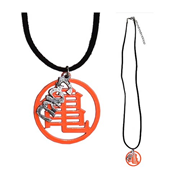 Dragon Ball Z Master Roshi's Orange Kanji with Leather Necklace