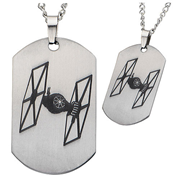 Star Wars: Episode VII - The Force Awakens Tie Fighter Laser Etched Stainless Steel Dog Tag Pendant Necklace