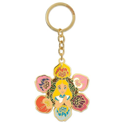 Alice in Wonderland Flower 2 1/2-Inch Enamel Key Chain