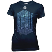 Doctor Who Logo of Words Navy Blue Juniors T-Shirt