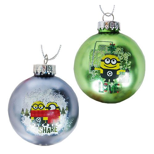 Despicable Me Love and Share 2 1/4-Inch Glass Ball Ornament 2-Pack