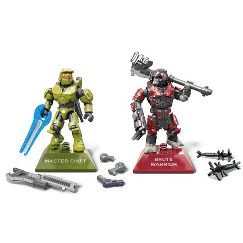 Halo Infinite Mega Construx Master Chief vs Brute Warrior Action Figure 2-Pack