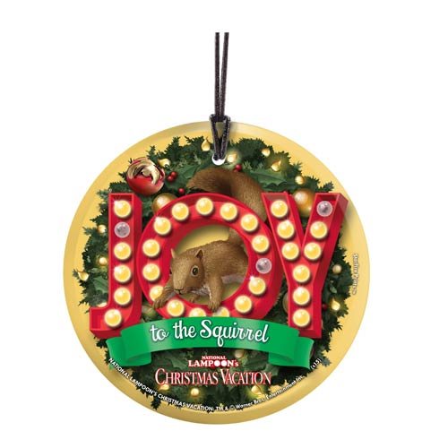 National Lampoon's Christmas Vacation Joy to the Squirrel StarFire Prints Hanging Glass Print