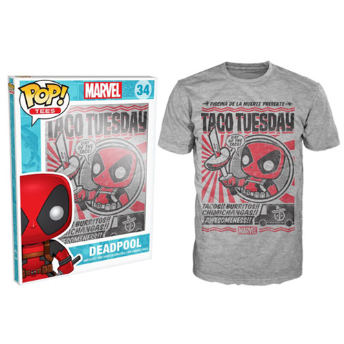 Deadpool Taco Tuesday Gray Pop! T-Shirt
