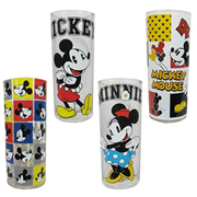 Mickey Mouse and Minnie Mouse Disney 10 oz. Glass Tumbler 4-Pack