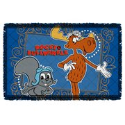 Rocky and Bullwinkle Framed Friends Woven Tapestry Throw Blanket