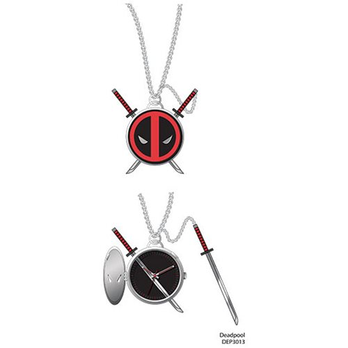 Deadpool Logo Pendant Pocket Watch with Sword