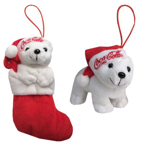 Coca-Cola Bear Standing and Within Stocking Set
