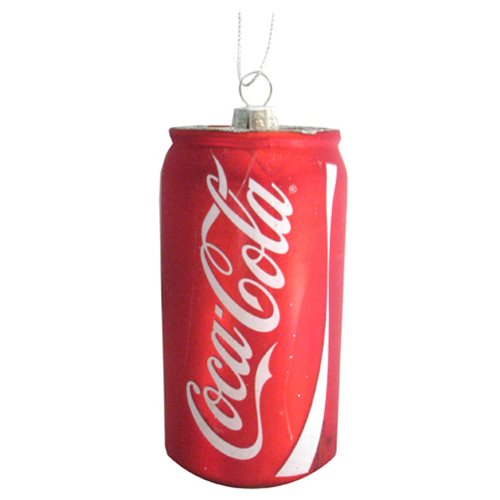 Coca-Cola Can 4 3/4-Inch Glass Holiday Ornament, Not Mint