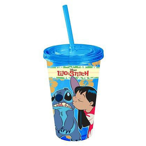 Lilo and Stitch Kiss Blue 16 oz. Plastic Travel Cup