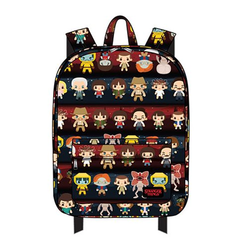 Stranger Things Chibi Character Print Nylon Backpack