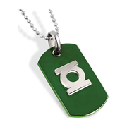 Green Lantern Silver Emblem Green Dog Tag Necklace