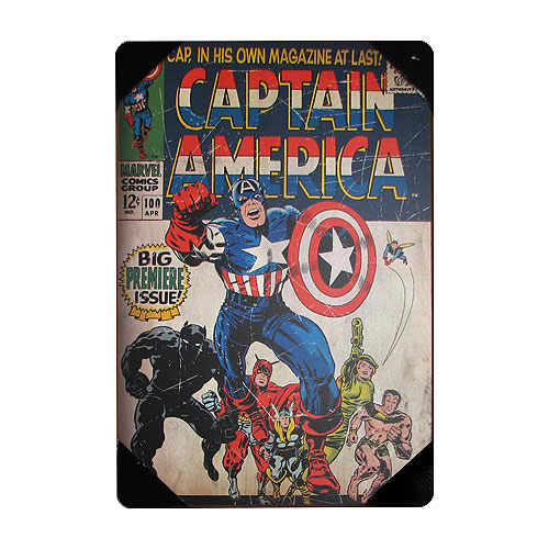 Captain America Premiere Issue Comic Book Wood Wall Artwork