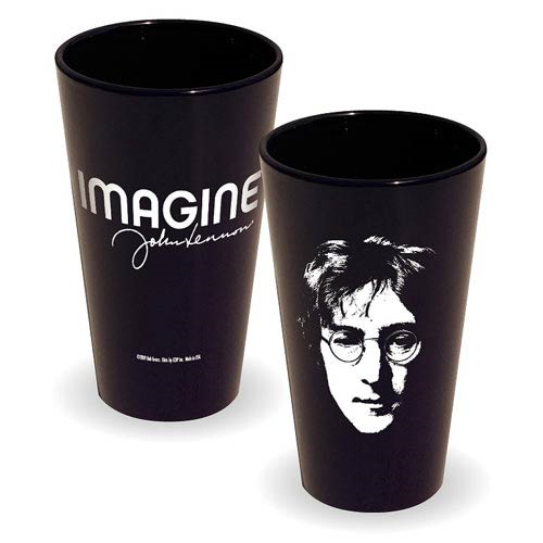 Beatles John Lennon Imagine Black Pint Glass