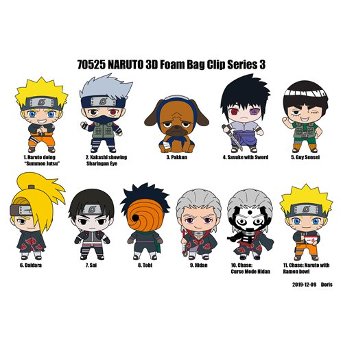 Naruto Series 3 Figural Bag Clip Display Case