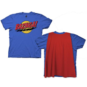 Big Bang Theory Bazinga With Cape Blue T-Shirt