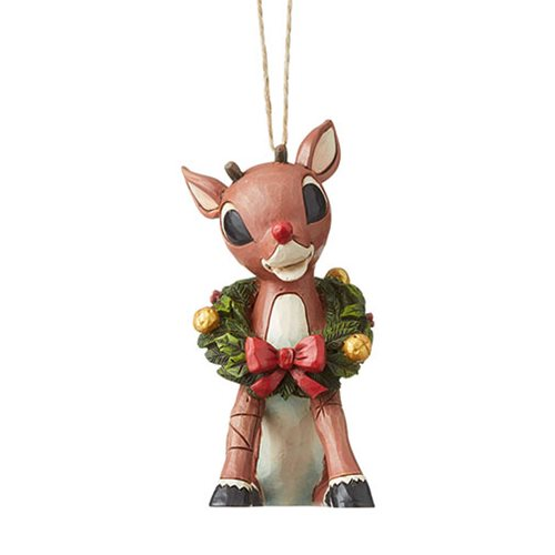 Rudolph the Red-Nosed Reindeer with Wreath by Jim Shore Ornament