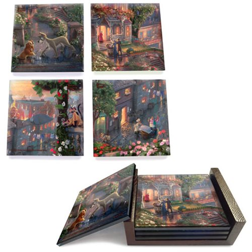 Lady and the Tramp Thomas Kinkade StarFire Prints Glass Coaster Set