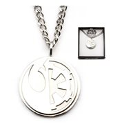 Star Wars Rogue One Rebel Alliance and Galactic Empire Symbol Stainless Steel Pendant Necklace