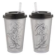 Mickey Mouse Black & White 16 oz. Flip Straw Acrylic Cup