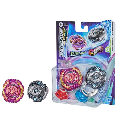 Beyblade Burst Surge SlingShock Hyper Sphere Myth EVO Dragon D5 vs. Perfect Phoenix P4 Tops