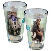 Star Wars: The Last Jedi Porgs, R2-D2, and Chewbacca Artistic Oasis Collage Pint Glass