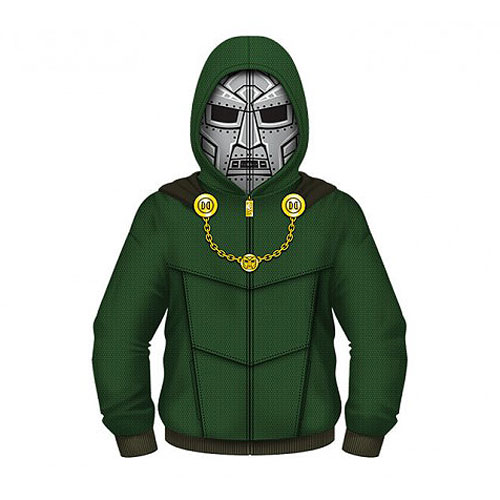 Fantastic 4 Dr. Doom Hooded Costume Fleece Zip-Up Hoodie