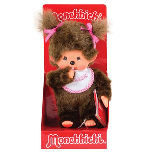 Monchhichi Girl Pink and White Bib Plush