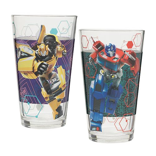 Transformers 16 oz. Optimus Prime and Bumblebee Laser Decal Glass Set 2-Pack Set