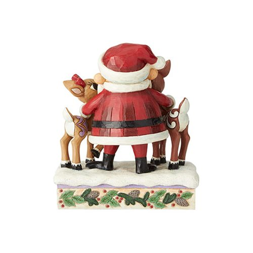 Rudolph the Red-Nosed Reindeer Santa Hugging Rudolph by Jim Shore Statue