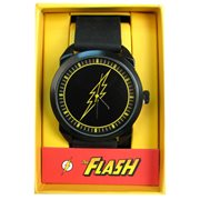 The Flash Logo Black Rubber Strap Watch