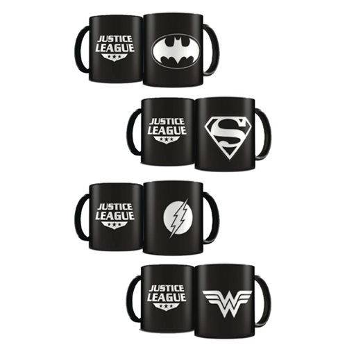 DC Heroes Laser Etched Mug Deluxe Black Limited Edition 4-Pack Set