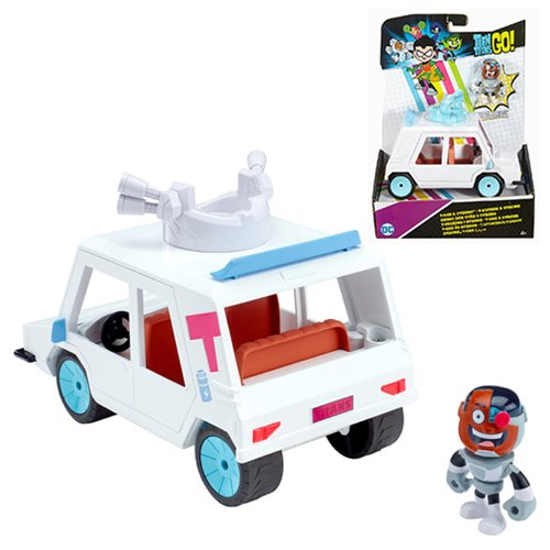 Teen Titans Go! Cyborg Mini-Figure and T-Car Vehicle Combo