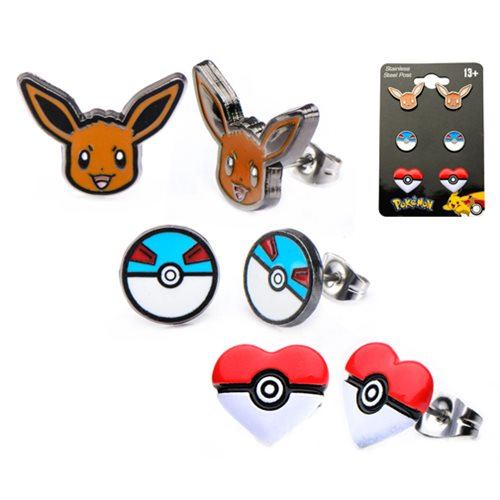 Pokemon Eevee Great Ball and Poke Ball Heart Stainless Steel Stud Earrings 3-Pack