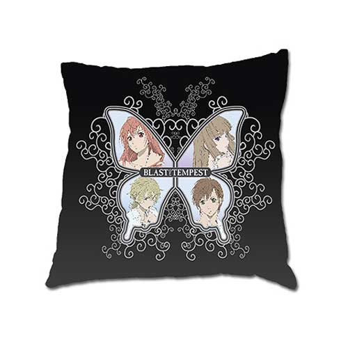 Blast of Tempest Butterfly Black Square Pillow