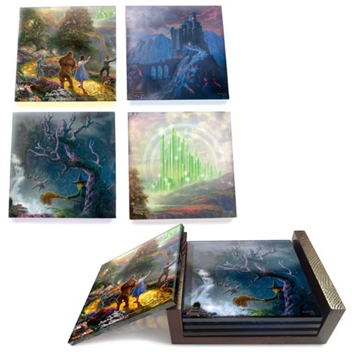 Wizard of Oz Thomas Kinkade Dorothy Discovers the Emerald City StarFire Prints Glass Coaster Set