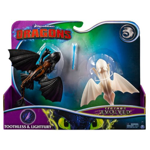 DreamWorks Dragons Legends Evolved Toothless and Lightfury Dragon Action Figures 2-Pack