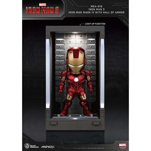 Iron Man 3 MEA-015 Iron Man MK IV Action Figure with Hall of Armor Display - Previews Exclusive
